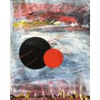 Interstellar gases with planetary forms. Space, Nebula, Abstract painting