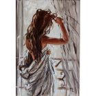 """ PARIS MORNING ... ""- liGHt ORIGINAL OIL PAINTING, GIFT, PALETTE KNIFE nude (2020)"