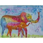 Colourful Mother and Baby Elephants 2