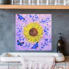 Handmade Ceramic Tiles Ideal for Bathroom and Kitchen with Sunflower and Butterflies