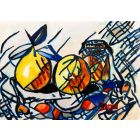 Still life with fruit and bottle
