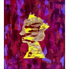 QUEEN #32 SPRINKLED WITH STARDUST ON PURPLE RED BACKGROUND ORIGINAL PAINTING INSPIRED BY QUEEN ELIZABETH PORTRAIT