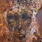 LARGE PAINTING FASCINATING RUSTED OLD MAN TRAVELER FACE HUMAN CONDITION ROMANTIC O KLOSKA