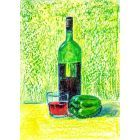 Red Wine in Green bottle and green pepper Still Life on paper