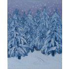 original oil painting Winter forest