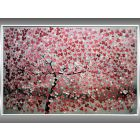 Romantic Dream - Acrylic Painting Blooming Tree, Framed Artwork, Original