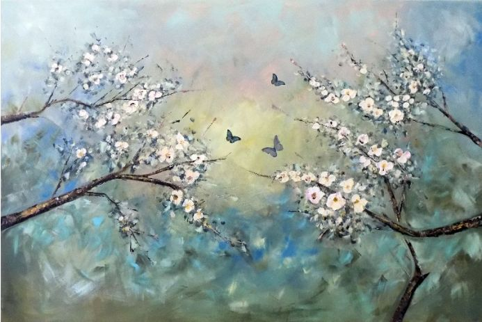 The sky in the spring, large landscape with flowering trees and butterflies.