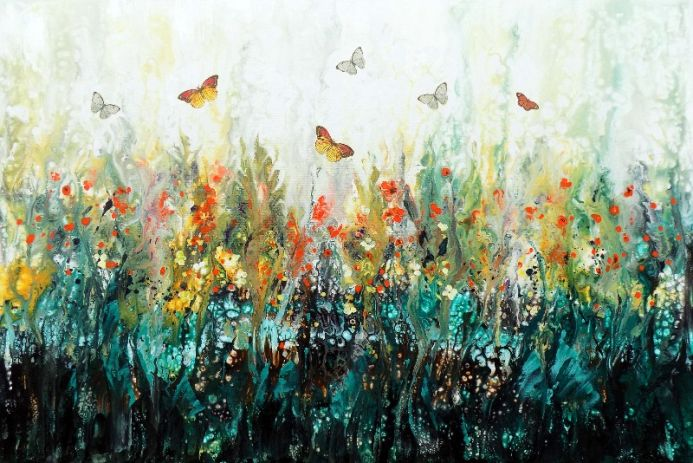 Garden extra large modern painting with flowers and butterflies
