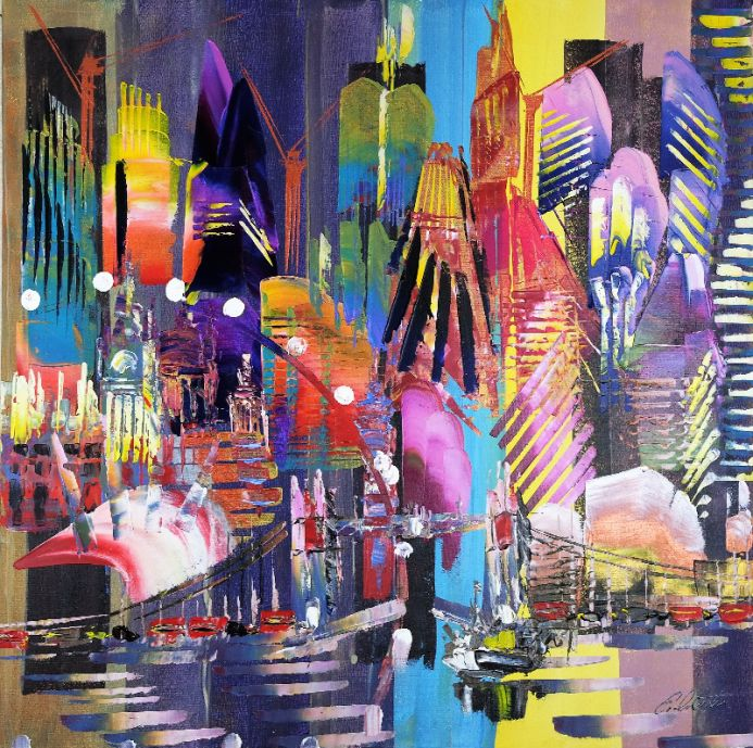 SALE City of London Skyline Abstract Painting 825