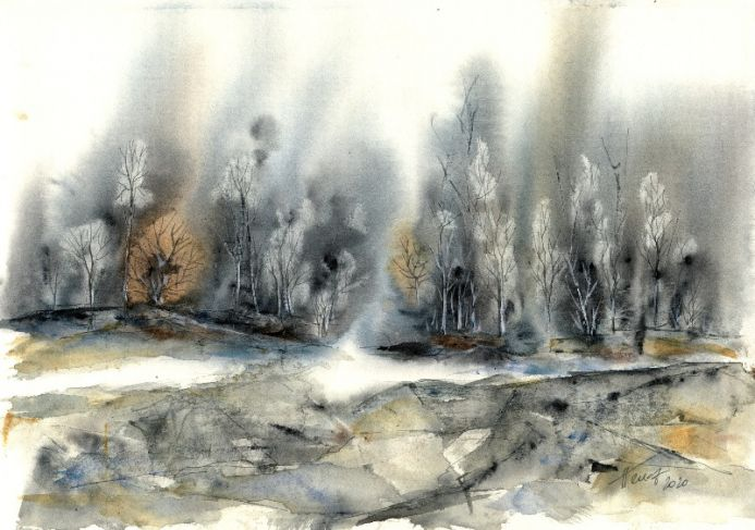 Misty forest - watercolor and in on paper