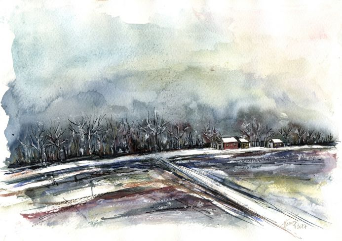 Murky winter afternoon Painting by Aniko Hencz