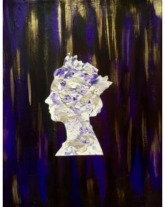 Queen # 94 on dark purple  with gold and silver raining