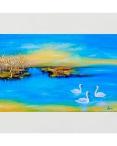 Swans on lake Original landscape painting oil painting on canvas