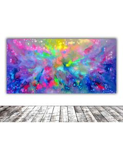 63x31.5'' Large Ready to Hang Abstract Painting - XXXL Huge Colorful Modern Abstract Big Painting, Large Colorful Painting - Ready to Hang, Hotel and Restaurant Wall Decoration, TITLE: Primordial Chaos