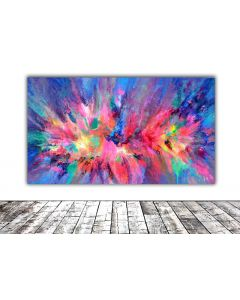 55x31.5'' FREE SHIPPING Large Ready to Hang Abstract Painting - XXXL Huge Colourful Modern Abstract Big Painting, Large Colorful Painting - Ready to Hang, Hotel and Restaurant Wall Decoration, Happy Harmony XXI