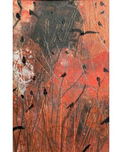 Copper gleam In The Wildwood - original painting in a mount