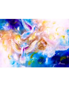 ORIGINAL DOVE PAINTING- white pigeon painting, white dove gifts, dove wall art