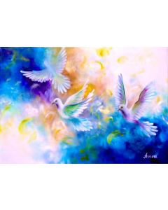 DOVE PAINTING- white pigeon painting, white dove gifts, dove wall art,