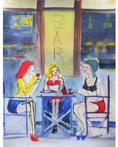 SEXY FEMALES, RED WINE CAFE. Original Impressionistic Figurative Watercolour Painting.