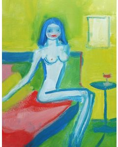 EROTIC NUDE FEMALE, Red Lips, Red Wine. Original Female Figurative Oil Painting. Varnished.