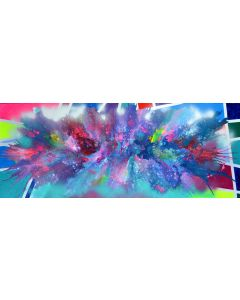 Organic vs. Geometric 3 - 150x60 cm - Big Painting XXXL - Large Abstract, Supersized Painting - Ready to Hang, Hotel Wall Decor