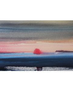 MISTY SUNRISE ANGLESEY. Small Original Seascape Watercolour Painting.