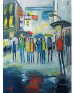 RAINY DAY LONDON SCHOOL OUTING. Original Cityscape Figurative Oil Painting. Varnished.