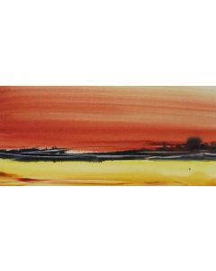 BEACH SUNSET ABSTRACT SEASCAPE. Original Watercolour Painting.