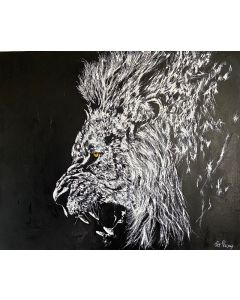 Lion on black