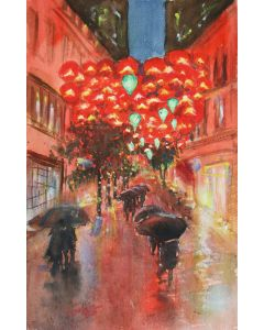 Rainy Evening. Sity... Rain... meeting... red lanterns...