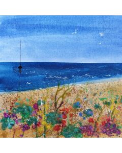 Summer Beach with Wildflowers & boat