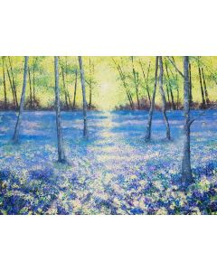Blue Tranquility (Large bluebell woods painting, large trees painting)