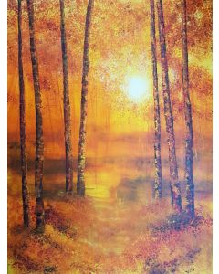 Warm Light Through Trees (Large forest, vivid colours trees painting)