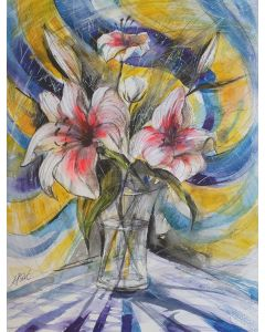 'Lillies' Original Painting 12 x 16 in