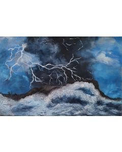 Lightning stormy sea