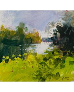 Ankerwycke, Thames, an original painting, by Jonathan Pitts. Plein air art, contemporary landscape painting.