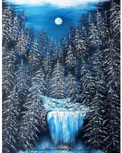 Moonglowing on the falls in winter