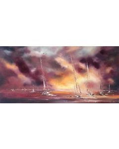 Sail boats at sunset PANORAMIC