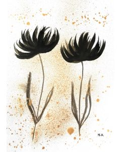 Black and gold flowers nr 2 A4