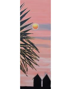 Sunset with Huts  32x12