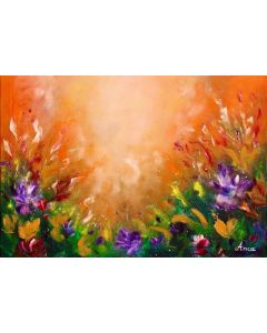 Abstract floral oil painting on canvas, meadow painting, flower painting, abstract flowers wall art, orange wall art