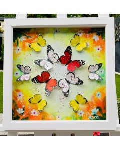 Framed floral Painting with 3D hand painted Butterflies, oil painting, 3D butterfly decor,