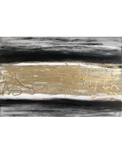 Black and gold acrylic abstract painting