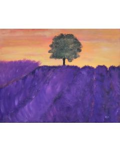 Lavender field acrylic painting 18x14