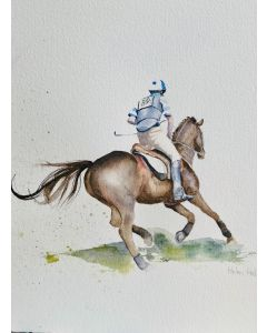 Cross Country An original, mounted watercolour painting by Helen Hobbs
