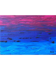Blue and purple abstract acrylic painting