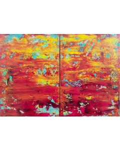 Caribbean evenings - diptych abstarct painting
