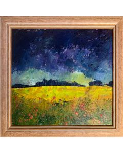 Summer storm over the poppies - framed original oil painting