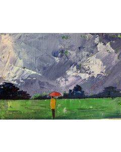 The daily walk - in the rain ( original framed oil painting )