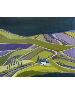 House on the lavender field - oil on canvas